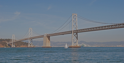 Suspension Oakland Bay Bridge in San Francisco to Yerba Buena Island with downtown